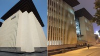 Two views of modern Sichuan Public Library building, with vertical concrete columns and overhanging roof