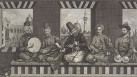 Engraving of five Syrian musicians with percussion, string and wind instruments