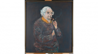 Painting of Stephen Murray-Smith smoking a pipe