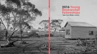 black and white book cover showing outback cottage and gumtrees with red and black text: 2016 Young Researcher Fellowships: Tales from Mallee country
