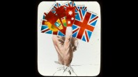 Lantern slide print, the British Empire's flags: India, South Africa, Canada, Australia (detail)