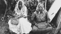 Aboriginal women making baskets at Lake Tyers, 1930s