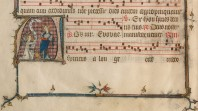 detail of medieval manuscript with musicians and musical score