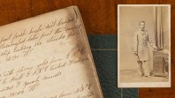 A page of cursive handwriting is placed beside a sepia portrait of a US Confederate soldier