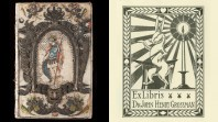 Shows a embroidered cover on the left and a book plate with a rabbit on the right
