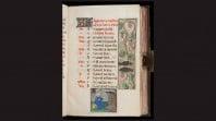 medieval manuscript page against black background with floral details