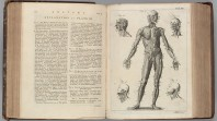 Rare book open at a double spread with text and diagram of the human body
