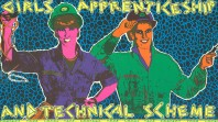 "Poster showing two women in workwear with the words: ""Girls' Apprenticeship and Technical Scheme"""