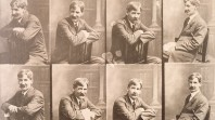 Shows 8 sepia portraits of Henry Lawson seated backwards on a chair
