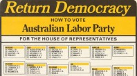 ALP how-to-vote card for the 1975 federal election