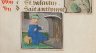 detail from medieval manuscript of woman seated before fire