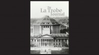 La Trobe Journal issue 92 featuring a black and white historic aerial photo of the State Library