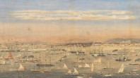Watercolour of 'View of the north shore, Port Melbourne', WFE Liardet, 1862