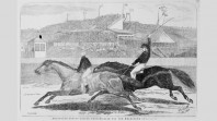 Wood engraving of the Melbourne Cup 1865, from the Illustrated Australian News