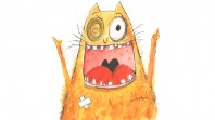 Orange cartoon of cat called Old Tom by Leigh Hobbs