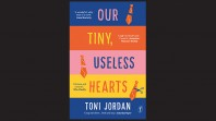Striped book cover against black background with rows of blue red, pink and yellow with graphics of ties and scissors and the words Our tiny, useless hearts, Toni Jordan