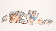 Coloured pencil drawing of echidna, koala and other Australian animals dancing