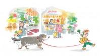 child walking dog in market