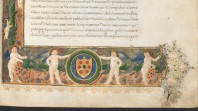 detail of medieval manuscript with cherubs