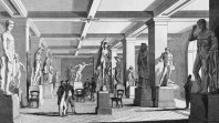 engraving of sculpture gallery in State Library