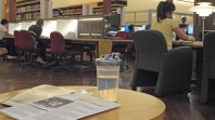 Water bottle on table in Redmond Barry Reading Room