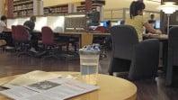 Water bottle on table in Redmond Barry Reading Room
