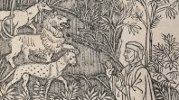 woodcut of a man in headdress talking to wild beasts
