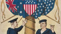 Detail of postcard honouring the American Fleet's visit, 1908