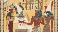 Depiction of Egyptian gods and hieroglyphics