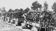 Convoy of ANZAC troops, possibly in France, 1915