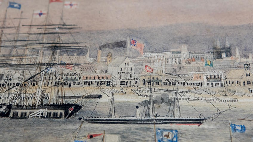 A close-up of Liardet's watercolour shows mid-19th-century buildings jostling for space on the beach behind boat masts