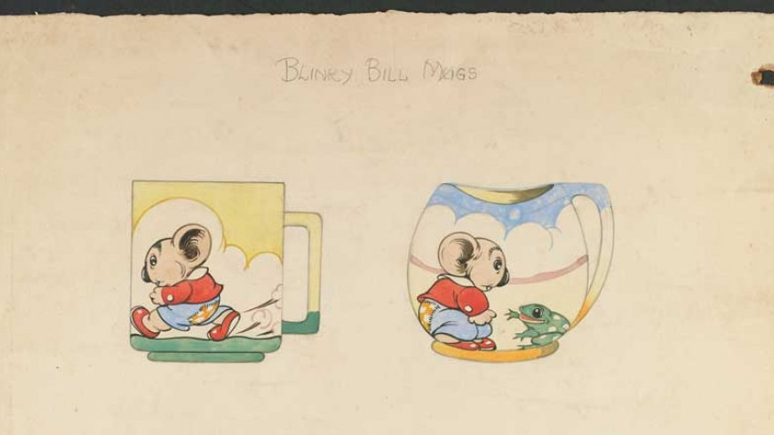 colour illustration by Dorothy Wall of drinking mugs featuring drawings of Blinky Bill