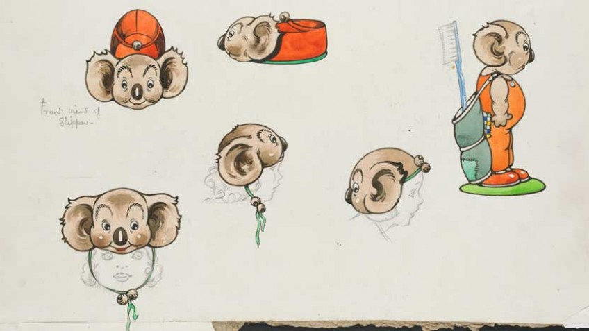 colour illustration by Dorothy Wall of Blinky Bill slippers, hat and toothbrush mug