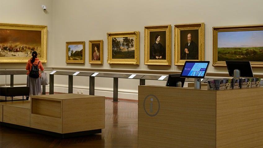 gallery artworks and information desks