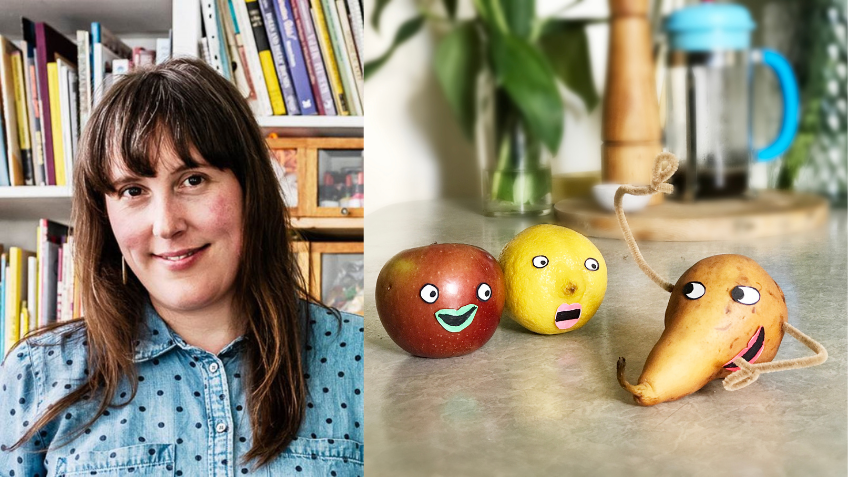 Isobel Knowles next to an image of decorated fruit