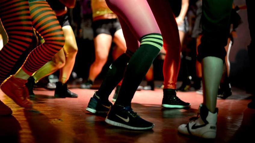 dancing feet on a dancefloor