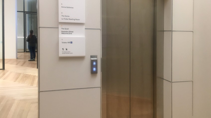 The closed doors of a lift