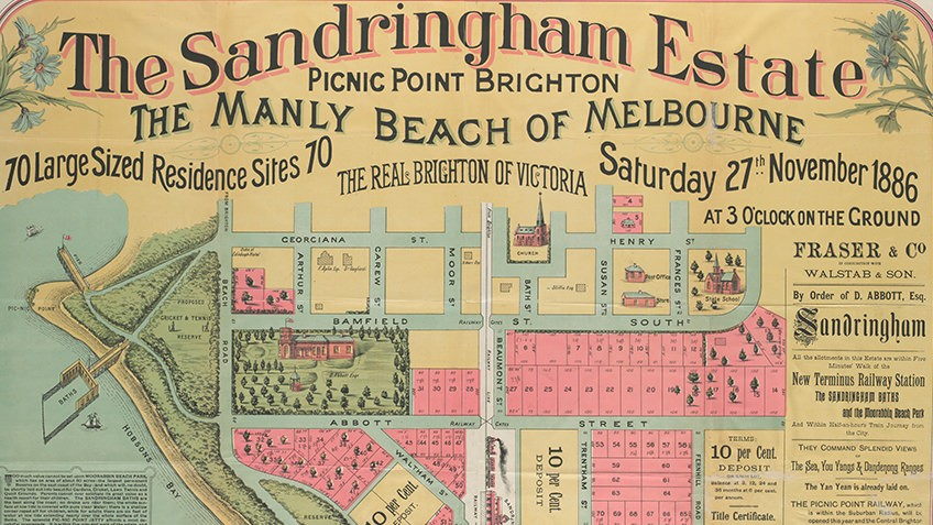Victorian-era poster map advertising real estate sale