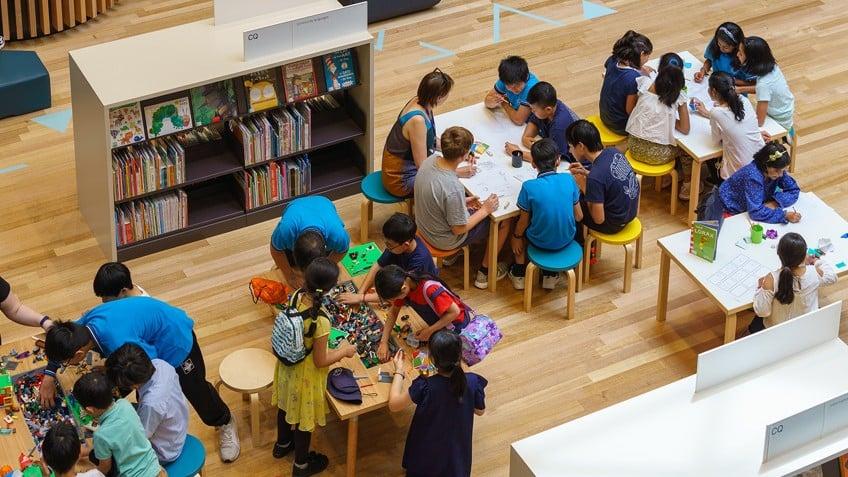 overhead shot of children's workshop