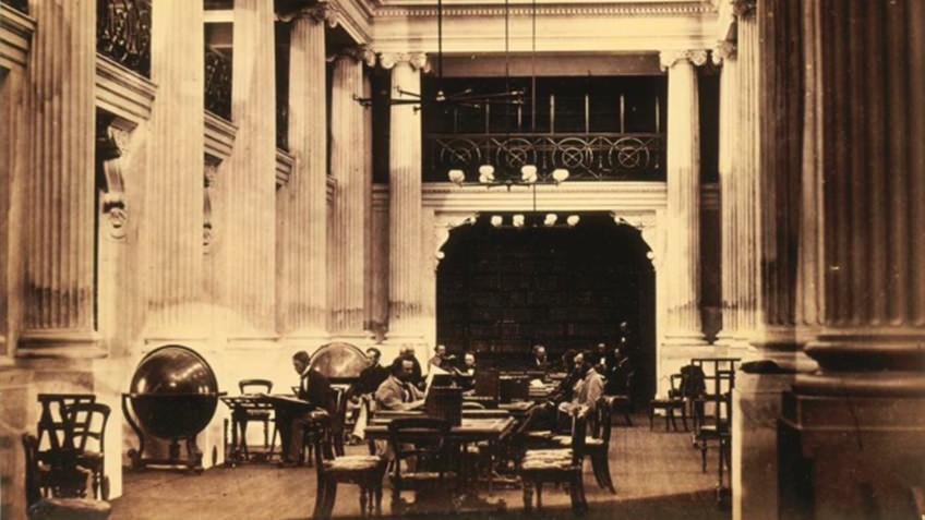 sepia photo of formal, columned reading room