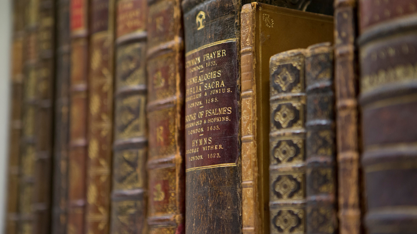 A row of old and weathered book spines