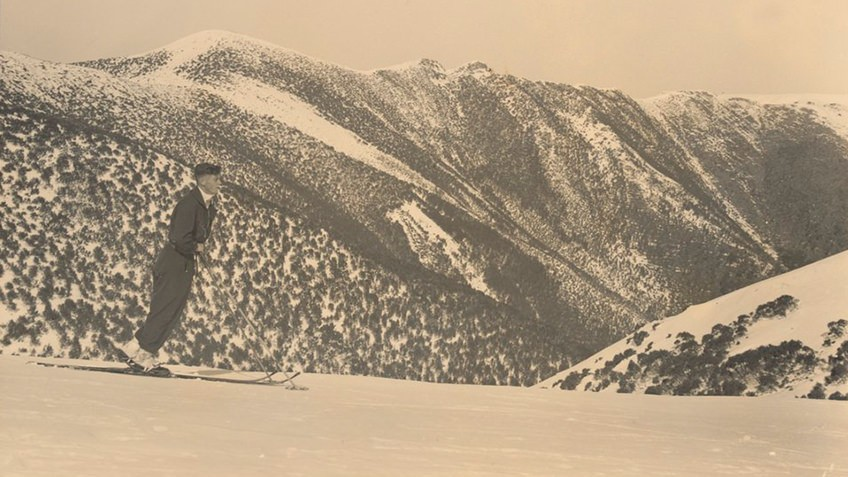 sepia photograph of pioneer skier in Victoria's High Country snowclad mountains