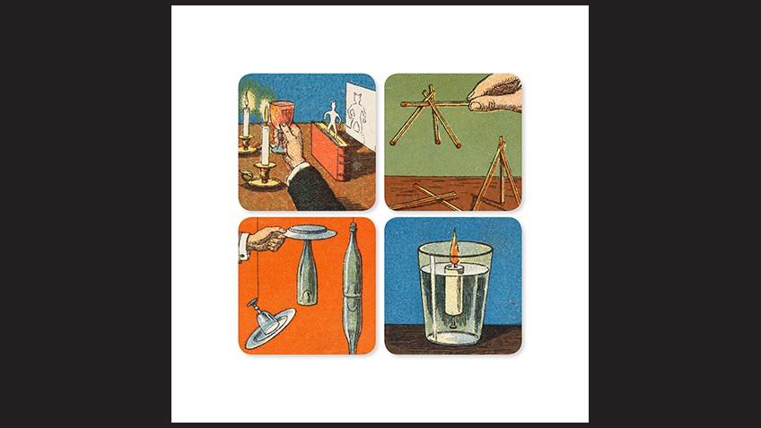 Four square illustrations of magic tricks