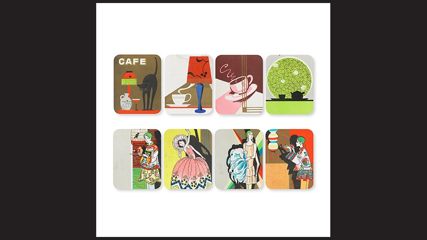 Four illustrations of art deco fashions and cafe life