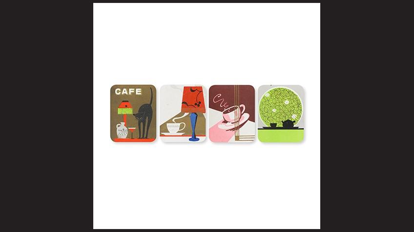 Art deco illustrations of cafe life
