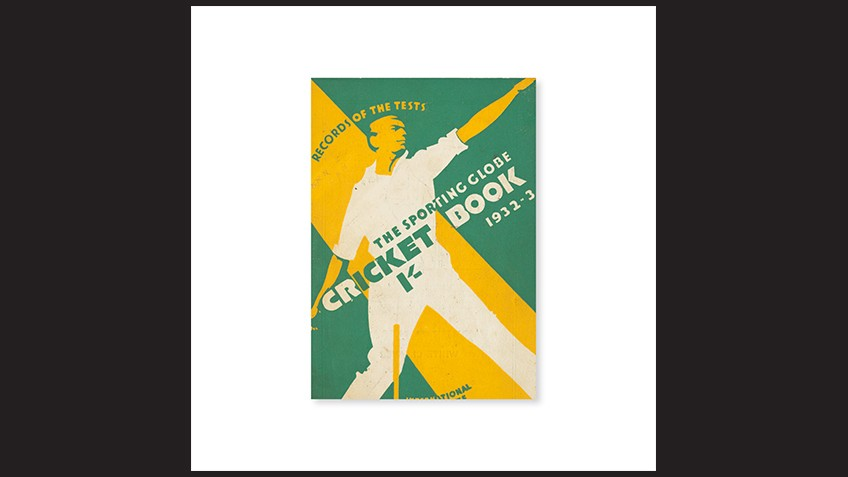 Green and yellow bold graphic of a cricket player bowling