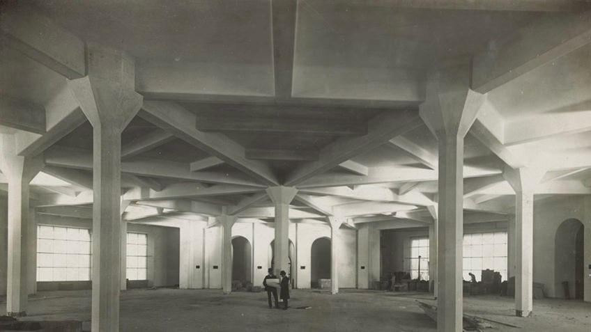 Concrete columns of Domed reading room basement