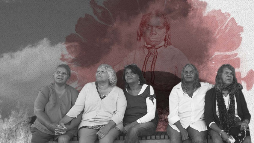 B&W photo of 5 Koorie women and a backdrop of crimson paint wash and a sepia photo of a Koorie woman with ringlets and a high collar