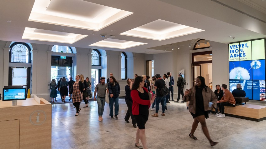 foyer with people entering library
