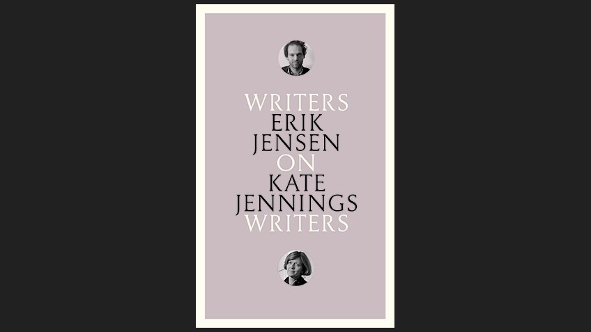 black background with mauve book cover, writing in black and white with small circular photos of Erik Jensen and Kate Jennings